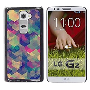 LASTONE PHONE CASE / Slim Protector Hard Shell Cover Case for LG G2 D800 D802 D802TA D803 VS980 LS980 / Teal Beige Purple Pattern Calm
