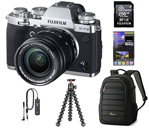 Fujifilm X-T3 Mirrorless Digital Camera with XF 18-55mm Lens, Silver, Bundle with 256GB SD Card + Lowepro Backpack + Joby GorillaPod 3K Kit RR-100 Remote Release + LCD Monitor Protector