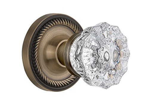 (Nostalgic Warehouse BN40-ROPCRY-AB Rope Rosette with Crystal Knob Privacy, Antique Brass)