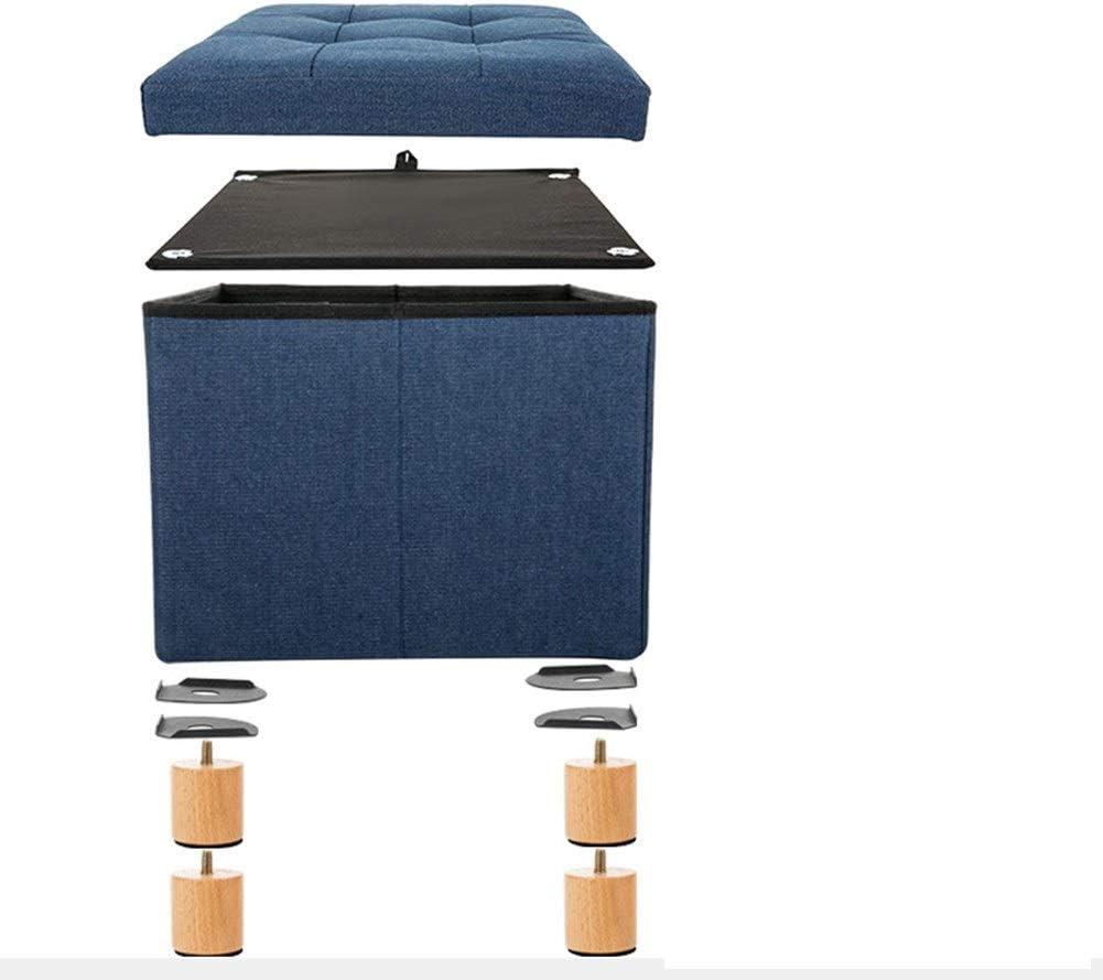 JDJD Denim-Gewebe Ottoman Massivholz Vier Fuß Lagerung Hocker Anproberaum Creative-Slipper Side Pocket Change Schuh Bank Faltbare Osmanen (Color : Blue S) Black S