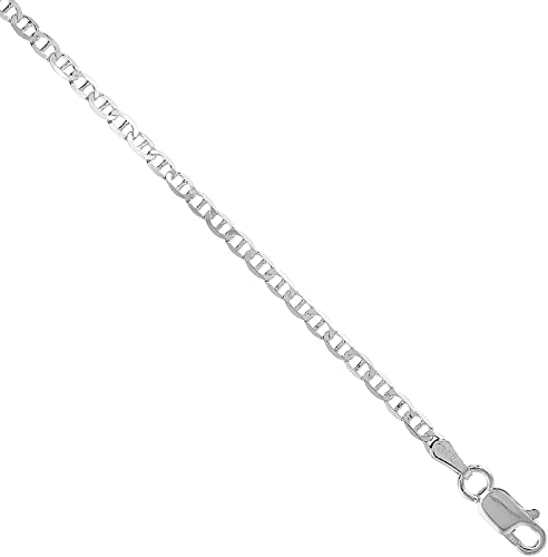 925 Sterling Silver 5.3mm Flat Oval Link Chain Bracelet Or Ankle Chain Anklet