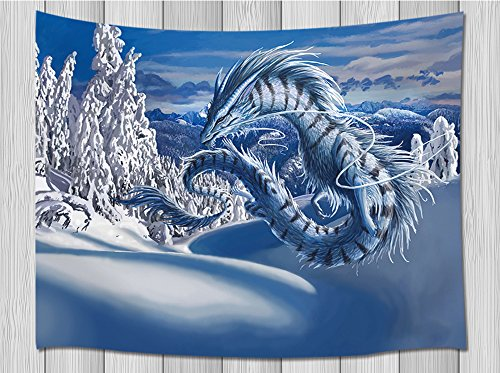 Dragon Decor Tapestry By Jawo Silver Dragon Flying Above Snow Forest Mountain In Fanstasy World Wall Hanging Blanket for Bedroom Living Room Dorm 71 X 60 Inches