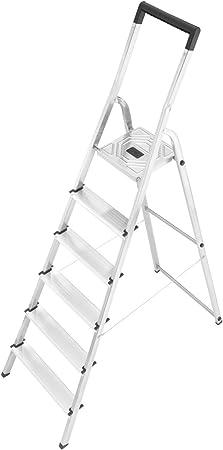 Hailo L40 - Escalera doméstica de aluminio, travesaño de seguridad con gancho para cubo (6 peldaños): Amazon.es: Hogar