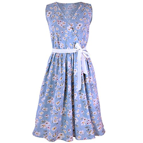 (Emimarol Womens Dress Casual V-Neck Sleevless Dress Floral Print Belt Bandage Dress Mini Tank Dress Party Evening Dress Sky Blue)