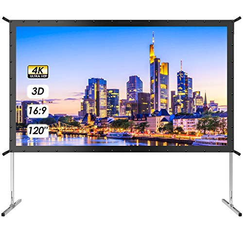 120 Inch Projector Screen with Stand - TUSY 4K HD 3D Indoor/Outdoor Foldable Projection Screens 16:9 Portable Movie Theater for Gaming Camping Cinema (Backyard Stores)