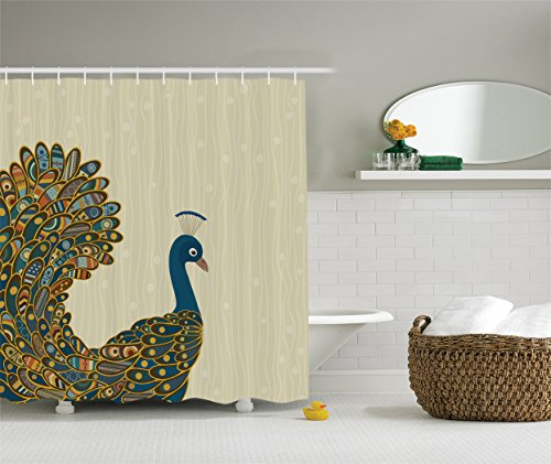 Ambesonne Peacock Decor Collection, Oriental Background and Motley Bird Tail Painting, Polyester Fabric Bathroom Shower Curtain Set with Hooks, Khaki Navy Orange Blue (Oriental Bird)
