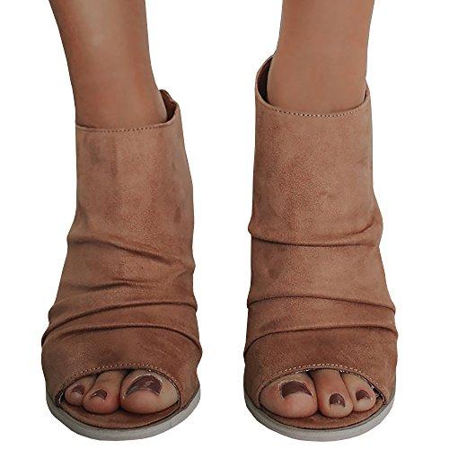 Liyuandian Womens Summer Open Toe Booties Zipper Back Fold Ankle Heels Brown