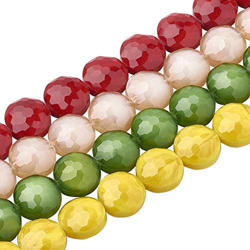 PH PandaHall About 125pcs 5 Stands 14mm Mixed Color Flat Round Opaque Solid Color Glass Beads Strands Faceted Beads for Jewelry Necklace Craft Making, 13.77