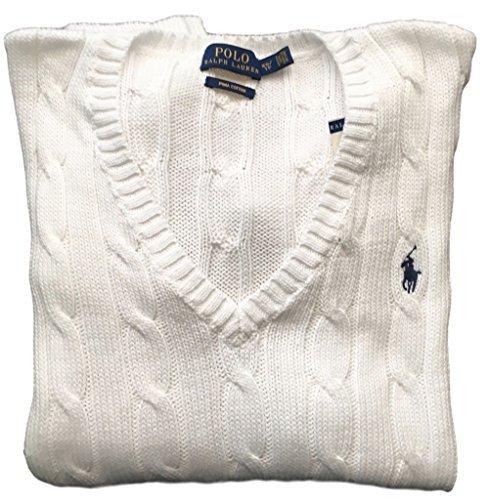 Polo Ralph Lauren Womens Pima Cotton Cable Knit V-Neck Sweater (M, White) (Ralph Lauren Cable Sweater)