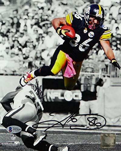 Autographed Hines Ward Photograph - 8x10 BW Spotlight PF Beckett Auth - Beckett Authentication - Autographed NFL Photos