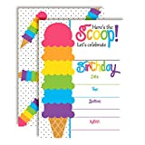 Rainbow Ice Cream Cone Birthday Party Invitations, Ten 5''x7'' Fill in Cards with 10 White Envelopes by AmandaCreation