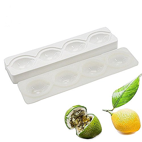 Wewin 4 Holes Lemon Shape White Silicone Molds for Baking Cake Mousse Dessert Decorating Tools with Bag