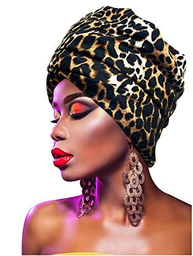 L'VOW Women' Soft Stretch Headband Long Headwrap Scarf Turban Tie (Leopard Color) ()