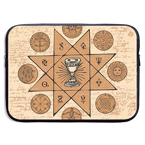 Grail and Esoteric and Masonic Symbols 13-15 Inch Laptop Sleeve Bag Portable Dual Zipper Case Cover Pouch Holder Pocket Tablet Bag,Water Resistant,Black (Grail Kitchen)