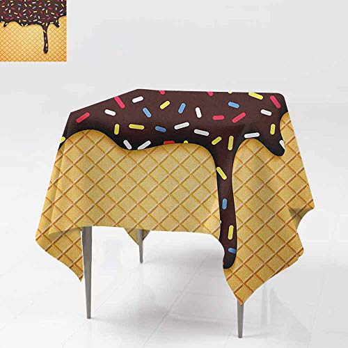 AndyTours Tablecloth for Kids/Childrens,Ice Cream,Waffle Chocolate Flavor Dessert Delicious Yummy Backdrop Stylish Graphic,for Events Party Restaurant Dining Table Cover,70x70 Inch Dark Brown Mustard
