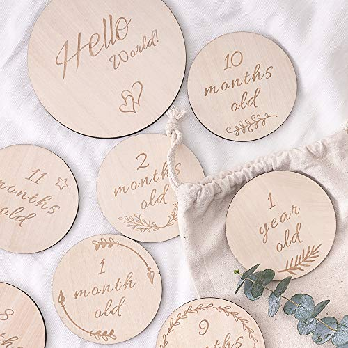 Baby Monthly Milestone Wooden Card, Double Sided Discs, Milestone Stickers Blocks, Milestones Set of 13: Includes 12 Cards (4.1 Inch) and 1 Customizable Birth Card(5.7 Inch) with Drawstring - One New Birth Record Little