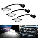 iJDMTOY (3) Clear Lens White LED Grille Running Lights For 10-14 & 17-up Ford Raptor (Powered by 36 Pieces of SMD LED Lights)