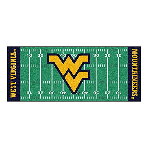 (FANMATS 7339-FOOTRUN West Virginia University Mountaineers Nylon Face Football Field Runner Team Color 30