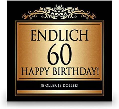 Udo Schmidt Aufkleber Flaschenetikett Etikett Endlich 60 Geburtstag gold elegant