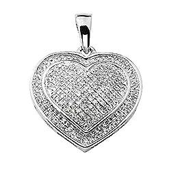 Round Cut Natural Diamond Multi Stone Heart Pendant