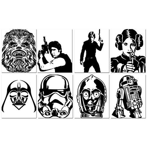 "Star Wars Silhouette Prints – Set of Eight (8) Prints – Size 8""x10"" – Unframed Prints – Glossy Finish – Luke Leia Han Chewbacca R2-D2 CP3O Darth Vader Stormtrooper – Great Gift for Any Star Wars Fan"