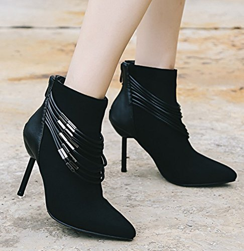 Aisun Womens Strappy Chaînes Métalliques Habillées Zip Up Bout Pointu Bottines Stiletto Talons Hauts Bottines Noir