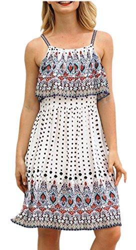 Dress Womens Ruffle Boho Short White Summer Line Print Floral Sleeveless Alion A OvwqaO