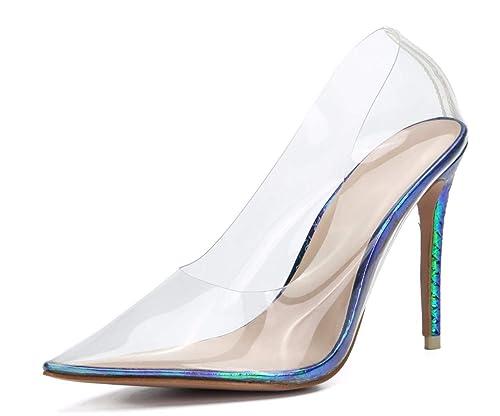 878cc2eddc7 Amazon.com | CAMSSOO Women High Heel Pumps Transparent Pointed Toe ...