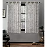 Exclusive Home Curtains Oakdale Sheer Grommet Top Panel Pair, Taupe, 54x63, 2 Piece