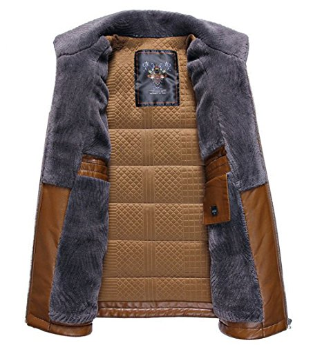 Windproof RUIYUNS Coat Leather Jacket Men's Plus Warm Outdoor Casual Faux Parka Filling Outerwear Jacket Thick Black Cotton Winter zx71nzrC