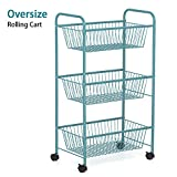 LIANTRAL 3-Tier Rolling Cart Utility Cart Over Size Multifunction Storage Cart with wheels 21.54'' x 12.40'' x 36.89'' (LT-DB049B) (Blue)
