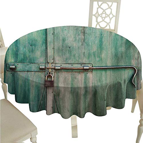 longbuyer Round Tablecloth spillproof Industrial,Aged and Closed Door with a Lock Close Up View in Retro Style Entrance Photo,Green Brown D36,for Cards
