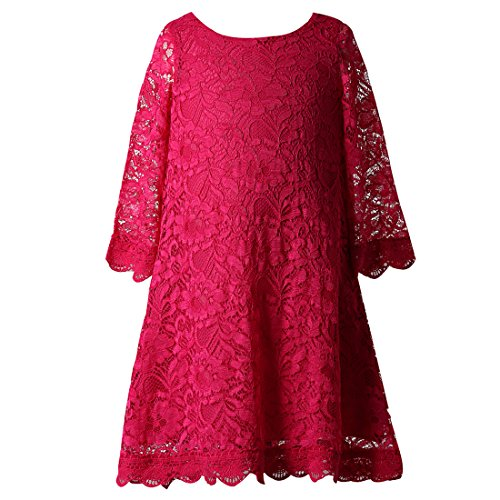 Rose Overlay Dress (Funtrees Little Miss Lace Overlay A-Line Long Sleeve Dress Size 4-5T Rose)
