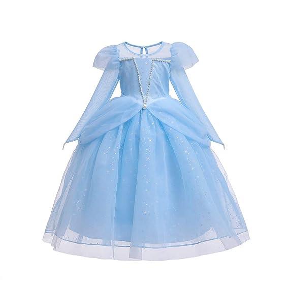 yeesn Disfraz de Cenicienta de Princesa Aurora para niñas ...