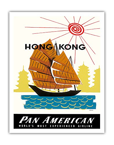 Hong Kong, China - Chinese Junk Ship and Pagoda Temples - Pan American World Airways - Vintage Airline Travel Poster by A. Amspoker c.1960 - Fine Art Print - 11in (China Art Hong Kong)