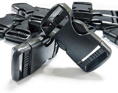 REKYO 1 Pulgada (25mm) Negro Lado Plano Ajustable Doble Lanzamiento Plástico Hebillas Correas Hebilla Clips