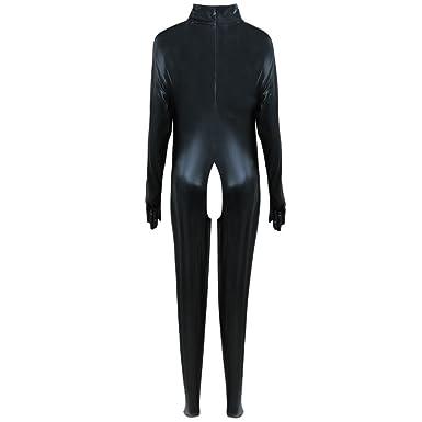 0f5957c6491 YiZYiF Sexy Catsuit PVC Faux Leather Bodysuit Womens Bodycon Crotchless  Clubwear Medium