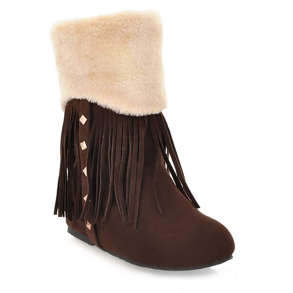 Women's Winter Snow Boots Fringe Anti-Slip Warm Fur Lined Sneaker Ankle Mid Flat Boot (US:8.0, Brown)
