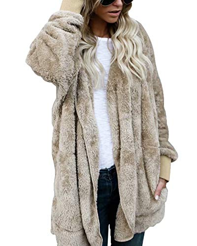 Women's Open Front Hooded Wram Faux Fur Fluffy Outwear Jacket Cardigan Khaki S