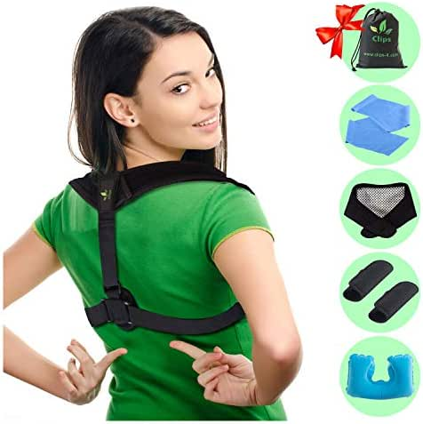 Posture Corrector - Upper Back and Neck Support for Natural Pain Relief for Men and Women. Includes Bonus Self Heating Neck Wrap, Travel Pillow, Resistance Band, Extra Pads and Travel Bag by Clips