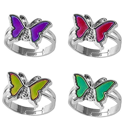 ion platinum Fine jewelry Mood rings classic temperature change color mood ring lovers (Adjustable Size) One size fits all (Sharp Butterfly) (Butterfly Mood Ring)