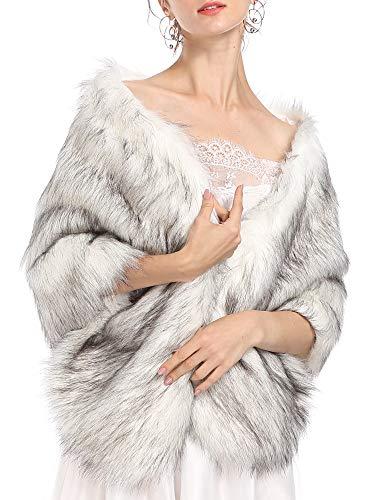 Caracilia Women's Wool Scarf Shawl Cape Coat With Luxury Faux Fox Fur Collar baidiheijian L CAFB5