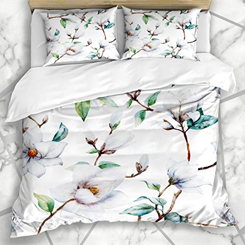 Ahawoso Duvet Cover Sets King 90x104 Branch Red Painting Watercolor Pattern Magnolia Flowers White Luxury Nature Pink Floral Chrysanthemum Microfiber Bedding with 2 Pillow Shams