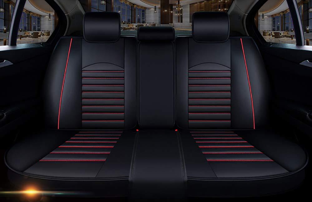 negro y rojo 13 unids Universal Fit Fundas asiento coche conjunto PU antideslizante F/ácil limpiar cuero cl/ásico 5 asientos Juego completo Cuchar/ón delantero trasero para autom/óvil
