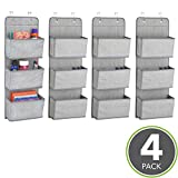 mDesign Soft Fabric Over the Door Hanging Storage Organizer with 3 Large Cascading Pockets, Holder for Office Supplies, Planners, File Folders, Notebooks - Pack of 4, Textured Print, Gray