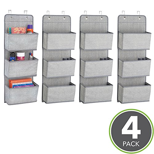 mDesign Soft Fabric Over the Door Hanging Storage Organizer with 3 Large Cascading Pockets, Holder for Office Supplies, Planners, File Folders, Notebooks - Pack of 4, Textured Print, Gray by mDesign