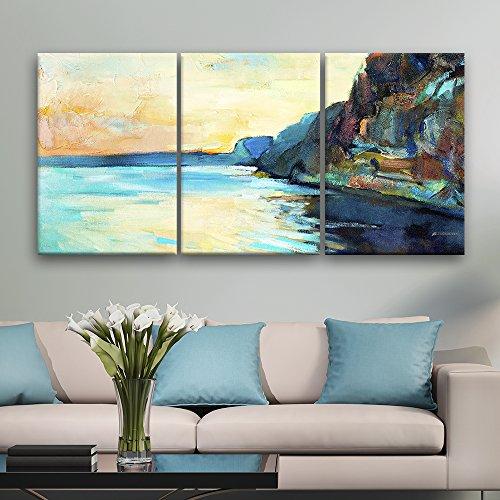 3 Panel Oil Painting Style Coastal Area Landscape Gallery x 3 Panels