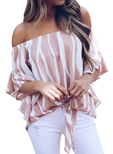 Shawhuwa Womens Vertical Stripes Off The Shoulder Tie Knot Elegant Tops Pink S (Pink Sexy Stripe)