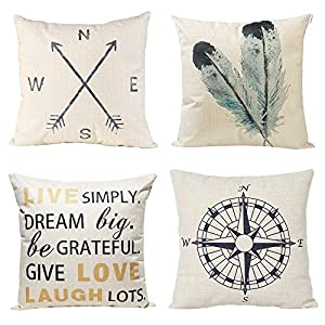 Anickal Decorative Pillow Covers 18×18 Inch Set of 4 Linen Compass Arrow Feather Live Love Laugh Quote Couch Throw…