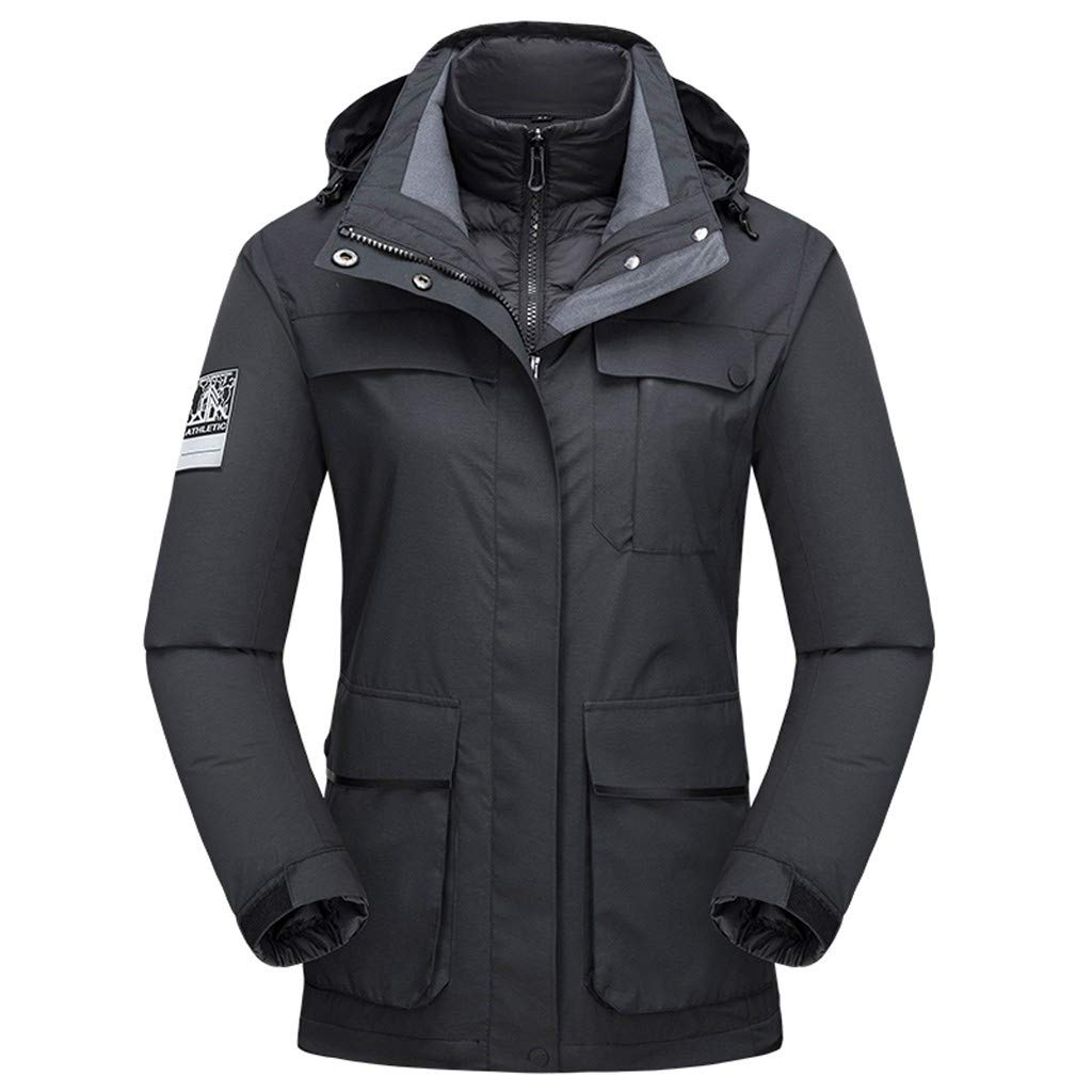 Juesi Women's Parka Jacket, Outdoor Thickened Windproof Waterproof Down Liner Detachable Sport Coat Winter Hoodie Outwear Black by Juesi